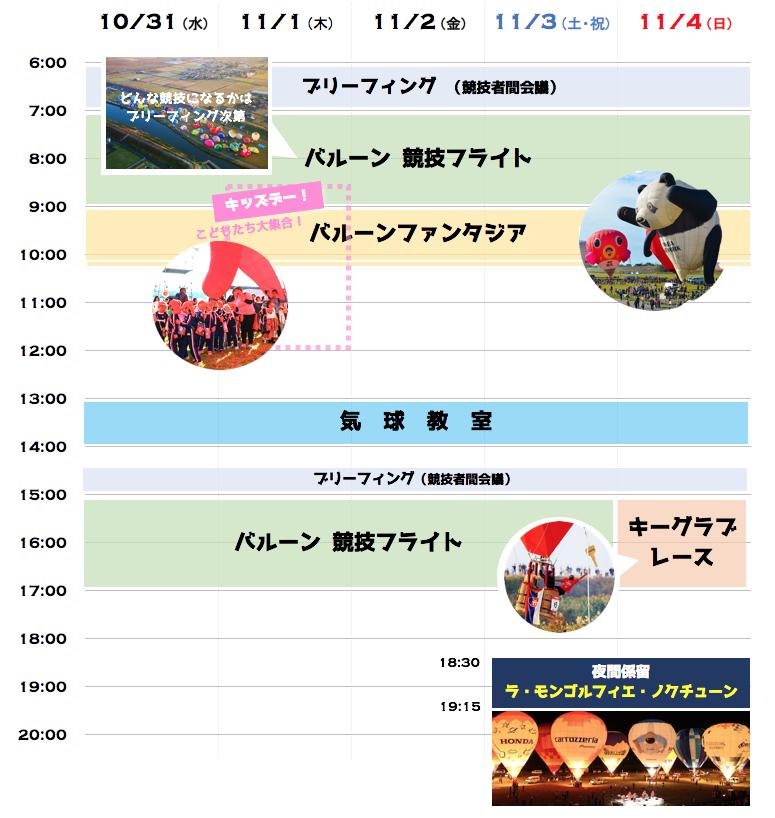 大会スケジュール 2018 2018佐賀インターナショナルバルーンフェスタ